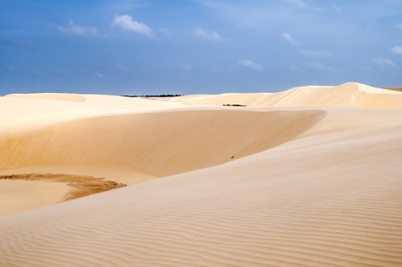 Sand dunes of the Lencois Maranheses National Park in Brazil.  Stock Photo
