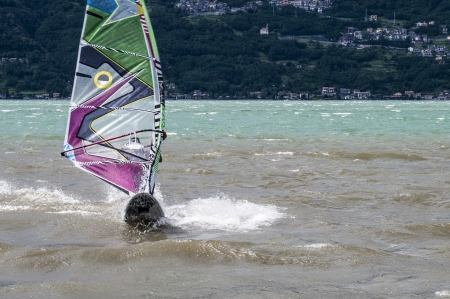 Windsurfing at Lake Como, Italy