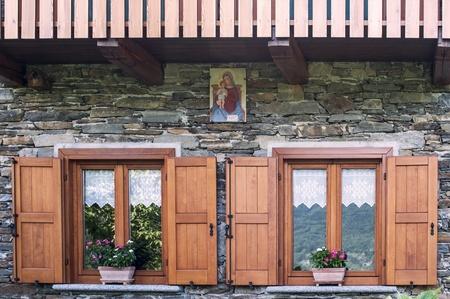 Windows of an alpine chalet, Italy Stock Photo - 15224255