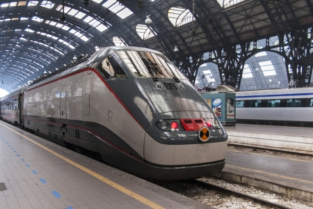 terminus: Train in Milan central Railways station (Italy)