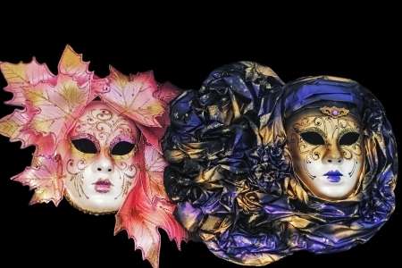 Classic carnival masks in Venice, on a black background photo