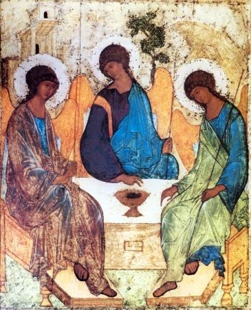 sanctity: Copia su legno di icona della Santissima Trinit� Editoriali