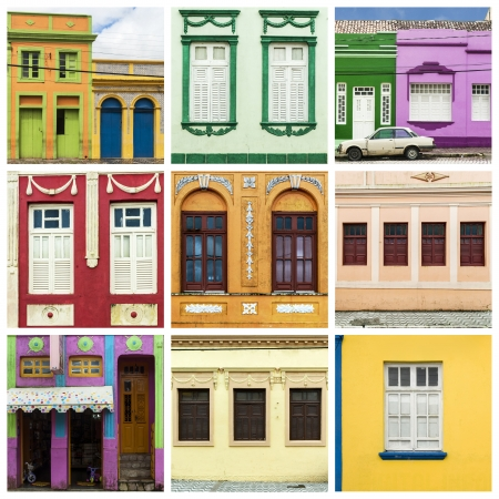 colonial: Colorful facades of colonial houses in Areia city, Brazil Editorial