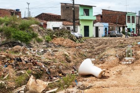 penury: Rubbish in a poor and neglected neighborhood of suburbs, Fortaleza, BrazilFORTALEZA, CE - MAY 14: Rubbish in a poor and neglected favela on May 14, 2011 in Fortaleza, Brasil. Editorial
