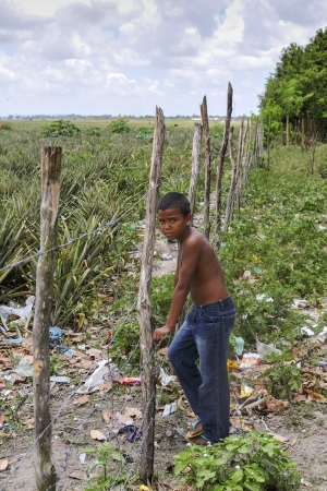 pb: Joao Pessoa, PB - OCT 20: Angry boy in a poor suburbs of the city on Oct 20, 2008 in Joao Pessoa, Brazil. Editorial