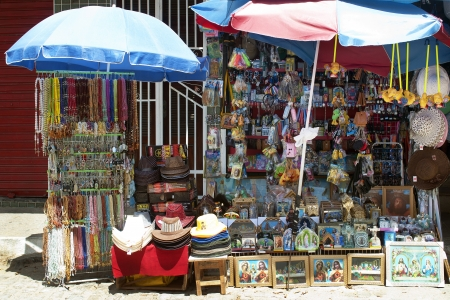crucifixes: Market stall of souvenirs and religious objects, in Caninde, Ceara State, Brazil