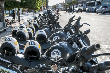 shocks: Row of police motorcycle at a protest rally on September 07, 2013 in Fortaleza, Brazil