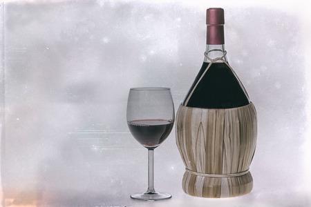 fiasco: Chianti Bottle, fiasco, and glass of red wine