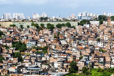 disadvantaged: Poor neighborhood and modern buildings of Salvador Bahia, Brazil Stock Photo