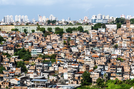 underprivileged: Poor neighborhood and modern buildings of Salvador Bahia, Brazil Archivio Fotografico