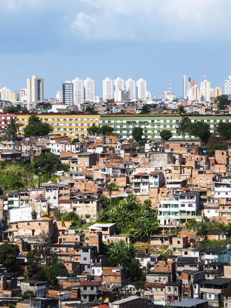 Poor neighborhood and modern buildings of Salvador Bahia, Brazil Stock Photo
