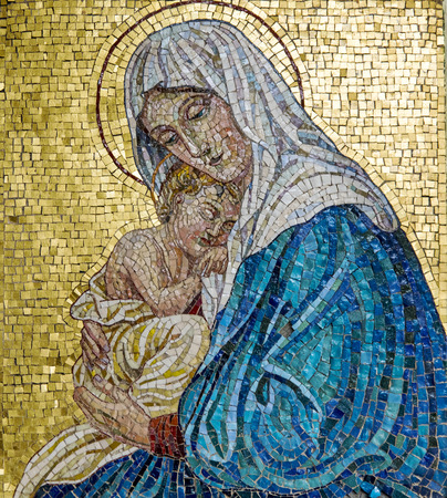 Mosaic of Virgin Mary with Child Jesus Stock Photo