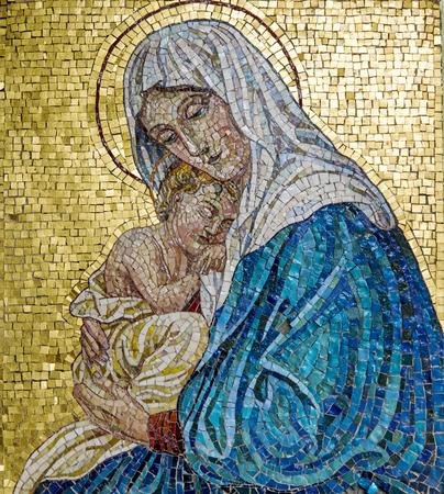 Mozaïek van Maagd Maria met Kind Jezus