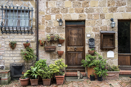 Sovana, medieval village of Tuscany, province of Grosseto, Italy. Typical houses with potted flowers