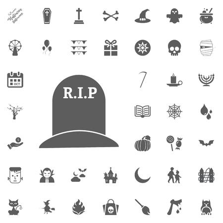 spider web: halloween icon set. vector illustration icons. RIP icon. grave icon Illustration