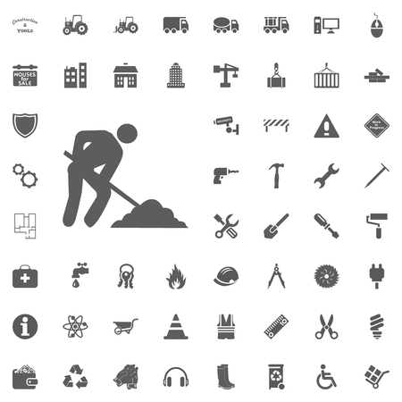 Construction side worker icon. Construction and Tools vector icons set.