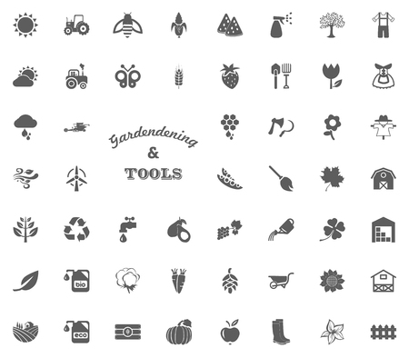 Gardening and tools text letter icon. Gardening and tools vector icons set.