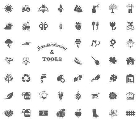 Gardening and tools text letter icon. Illustration