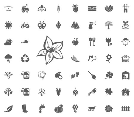 Magnolia icon. Gardening and tools vector icons set. Illustration