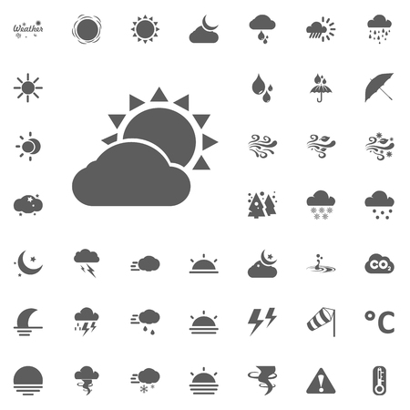 Cloud and sun icon. Weather vector icons set.