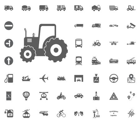 Tracktor icon. Transport and Logistics set icons. Transportation set icons.