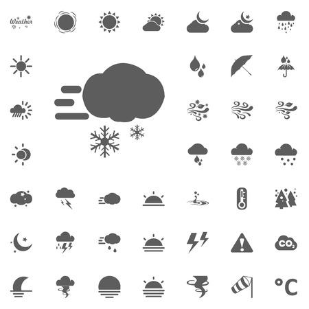 乱気流と雲と雪のアイコン。天気ベクトルアイコンセット