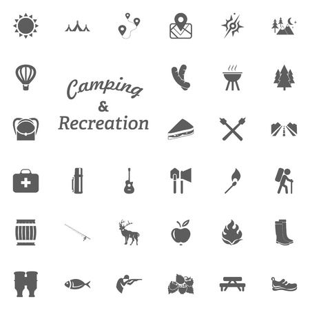 Camping and Recreation letter icon. Camping and outdoor recreation icons set.