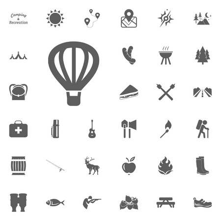 Air balloon icon with camping and outdoor recreation icons set. Stock Illustratie