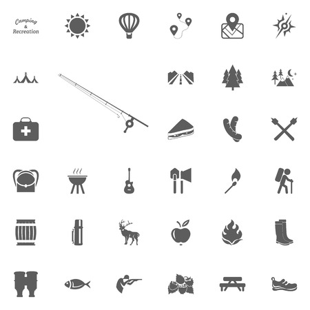 Fishing rod icon. Camping and outdoor recreation icons set.