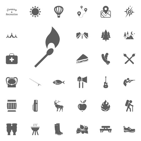 Match icon. Camping and outdoor recreation icons set.