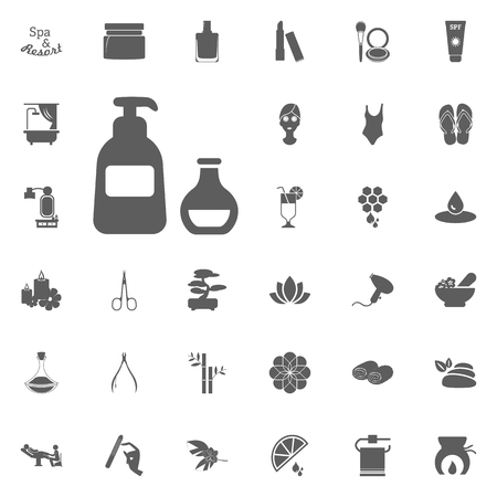Body and face care lotion icon. Spa and Recreation vector set icons. Set of 33 spa icons
