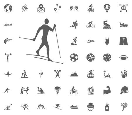 Skiing icon sport illustration vector set icons.
