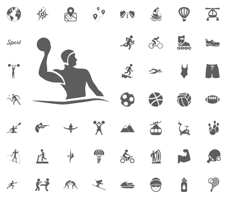 Water polo icon. Sport illustration vector set icons. Set of 48 sport icons.