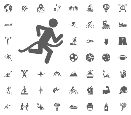 Jogging icon. Running icon. Sport illustration vector set icons. Set of 48 sport icons