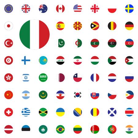 Italy round flag icon. Round World Flags Vector illustration Icons Set