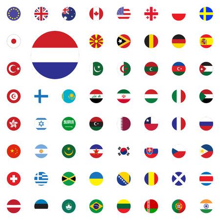 Netherlands round flag icon. Round world flags vector illustration icons set Vector Illustration