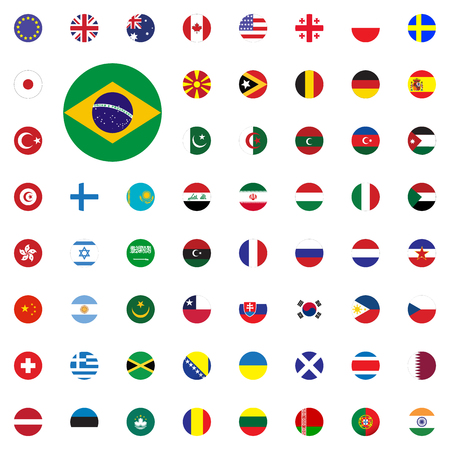 Brasil round flag icon. Round World Flags Vector illustration Icons Set 일러스트