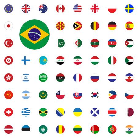 Brasil Runde Flagge Symbol . Runde Flaggen der Flaggen 3d eingestellt Standard-Bild - 95557420