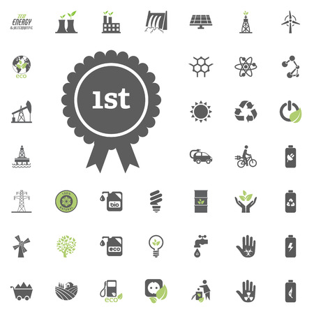 1st place icon. Eco and Alternative Energy vector icon set. Illustration