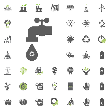 Recycled water icon. Eco and Alternative Energy vector icon set. Energy source electricity power resource set vector Vettoriali