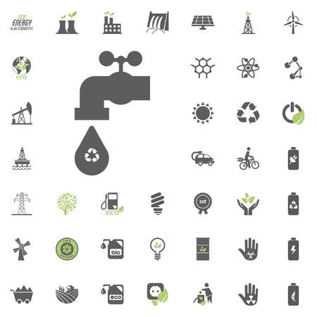 Ikona wody z recyklingu. Zestaw ikon wektorowych Eco i alternatywnych źródeł energii. Wektor zestaw zasobów energii elektrycznej źródła energii