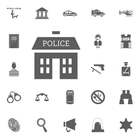 Police department icon. Police and juctice vector icon set