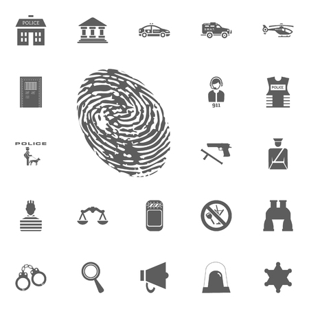 Finger print icon. Police and juctice vector icon set Stock Illustratie