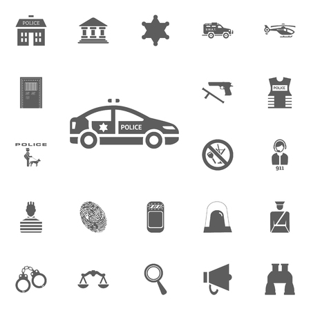 Police car icon. Police and juctice vector icon set