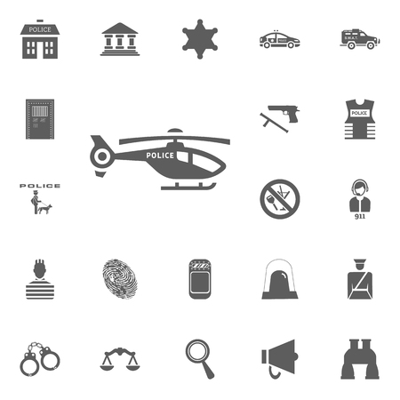 Police helicopter icon. Police and juctice vector icon set