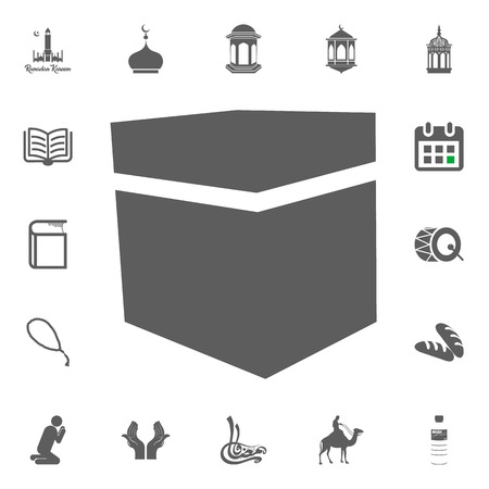 Mecca, Kaaba stone icon. Ramadan Kareem. Eid Mubarak vector illustration icons set