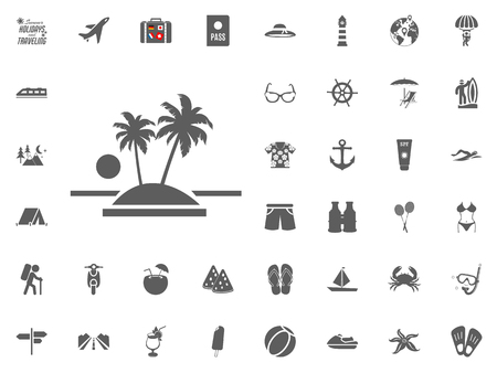 Oasis island icon. Summer holidays and Traveling vector icons set