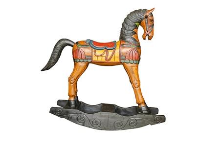 Vintage rocking horse isolated on white background photo