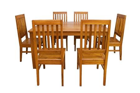 dining table and chairs: Dining table and chairs isolated on white background