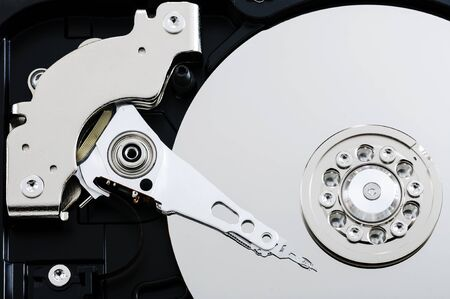 close up view of hard drive inside  photo